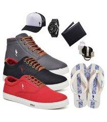 kit 3 pares sapatênis polo blu casual cano alto e cano baixo cinza/preto/vermelho acompanha boné + cinto + meia + carteira + relógio + chinelo