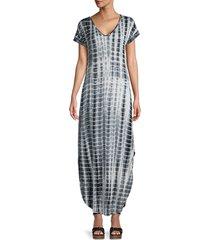 stellah women's tie-dye maxi dress - ink - size s