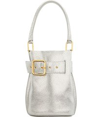 giuseppe zanotti wanda belted bucket bag - silver