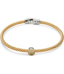 two-tone stainless steel, 18k yellow gold & citrine bracelet