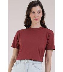 t-shirt feminina mindset manga curta decote redondo vermelha escuro