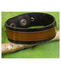 leather bracelet, 'rough and tumble in black' (thailand)