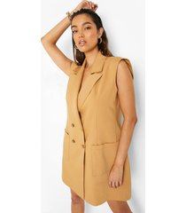 oversized mouwloze blazer jurk, camel