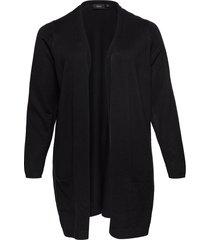 cardigan plus knit long sleeve stickad tröja cardigan svart zizzi
