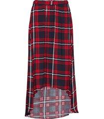 anna check knälång kjol röd line of oslo