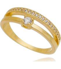 anel drusi semi joias duas fileiras com solitário & cravação de zircônias dourado - kanui