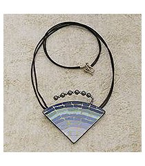 ceramic pendant necklace, 'ombre mosaic' (brazil)