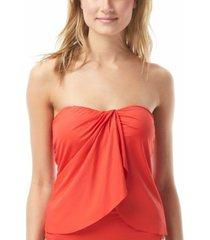 vince camuto riviera strapless draped tankini top women's swimsuit