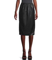 brave + true women's faux leather knee-length skirt - black - size m