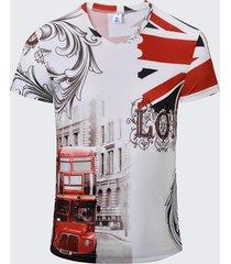 t-shirt da uomo traspirante a maniche corte con stampa a bandiera vintage da uomo stampata