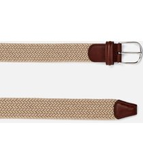 anderson's men's polished silver buckle woven belt - beige - w34/l