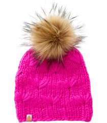 women's sh*t that i knit the motley merino wool beanie with removable faux fur pompom - pink