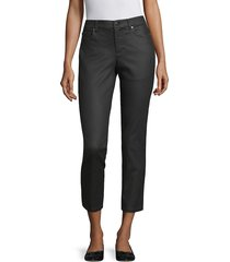 eileen fisher women's coated stretch ankle jeans - black - size 16