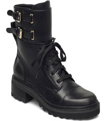 bart - combat boot w shoes boots ankle boots ankle boot - flat svart dkny