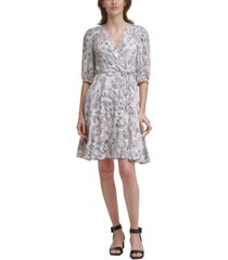 calvin klein printed balloon-sleeve a-line dress