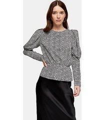 black and white micro animal print drama sleeve blouse - monochrome