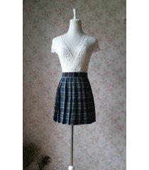 dark green plaid skirt school plus size mini plaid skirts women pleated skirts