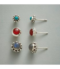 circle the gemstones earring trio