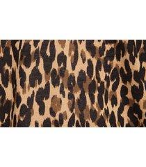 women's halogen leopard print linen blend cardigan, size xx-small - brown