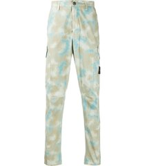 stone island camouflage slim-fit trousers - neutrals