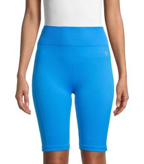 nine west women's seamless biker shorts - diva blue - size l/xl