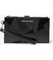mk portafoglio da polso adele in pelle effetto patchwork - nero (nero) - michael kors