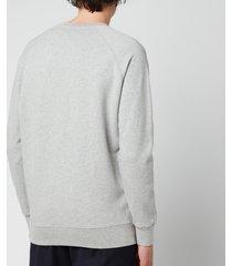 maison kitsuné men's grey fox head patch classic sweatshirt - grey melange - xxl