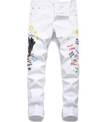 angel embroidery letter grafitti denim pencil pants