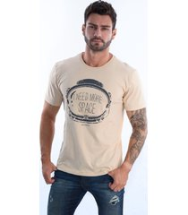 camiseta  arcanos 100% algodão orgânica reta more space caqui - kanui