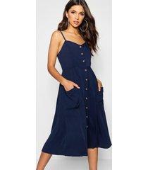 button front pocket detail midi dress, navy