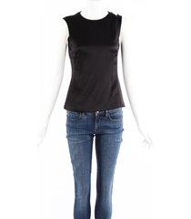 christian dior black silk sleeveless peplum top black sz: s