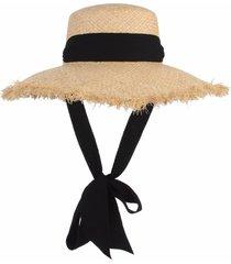 handmade weave raffia sun hat black ribbon large brim straw caps chapeu feminino