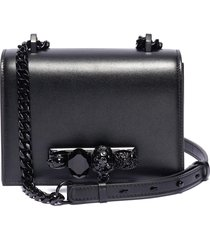 'the small jewelled satchel' in leather with swarovski crystal knuckle