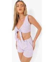 linnen look crop top met krijtstrepen en strik en shorts, lilac