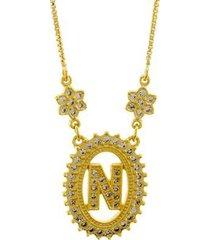 colar horus import letra n zircônia banhado ouro 18k feminino