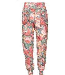 broek met bloemenprint richie  roze