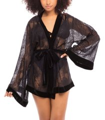 women's all over lace short robe with velvet trimming