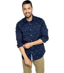 camisa azul navy nautica