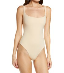 women's skims fits everybody square neck sleeveless bodysuit, size x-large - beige