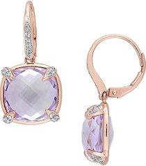 sonatina women's 14k rose gold, rose de france amethyst, white sapphire & diamond drop earrings