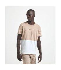 camiseta manga curta em algodão bicolor | request | marrom | gg