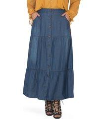 plus size women's standards & practices denim maxi peasant skirt