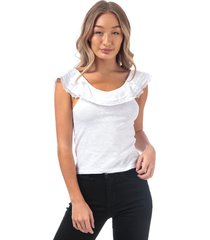 brave soul womens lace trim square neck top size 16 in white