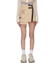 asymmetric belt detail pocket wrap skirt