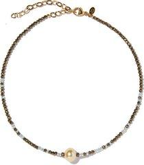 aquamarine ombre single tahitian pearl gemstone necklace