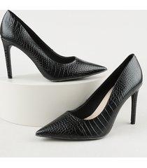 scarpin feminino oneself bico fino salto alto texturizado croco preto