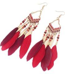 aretes artesanal plumas rojo sasmon ar-11327