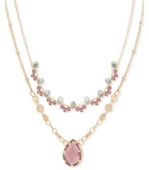 """lonna & lilly gold-tone beaded double-row crystal pendant necklace, 16"""" + 3"""" extender"""