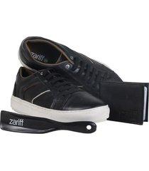 kit 3 em 1 sapatênis em couro + carteira + calçadeira zariff