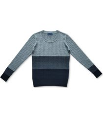 karen scott cable-knit colorblocked cotton sweater, created for macy's